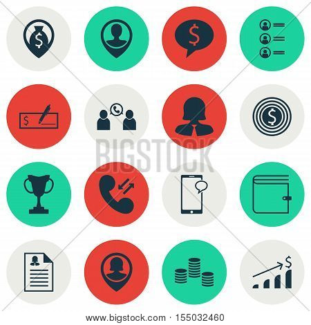 Set Of Hr Icons On Phone Conference, Business Goal And Cellular Data Topics. Editable Vector Illustr