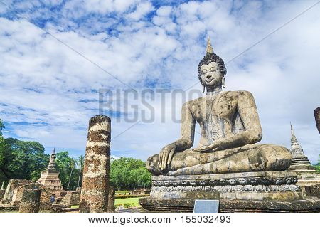 the old historical buddha statue in the temple at Sukhothai Historical Park in Sukhothai Province Thailand