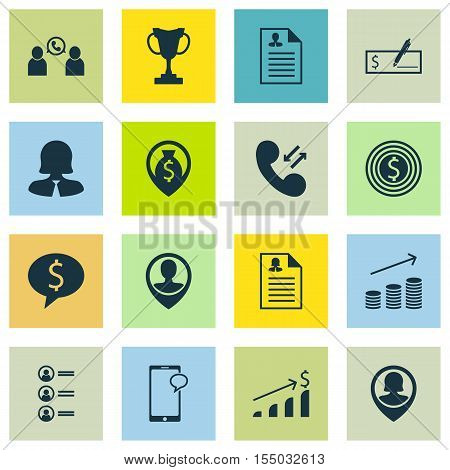 Set Of Management Icons On Business Deal, Business Woman And Bank Payment Topics. Editable Vector Il