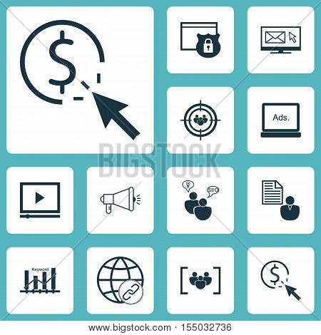 Set Of Advertising Icons On Questionnaire, Ppc And Security Topics. Editable Vector Illustration. In