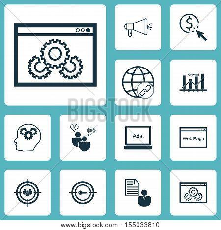 Set Of Marketing Icons On Brain Process, Focus Group And Media Campaign Topics. Editable Vector Illu
