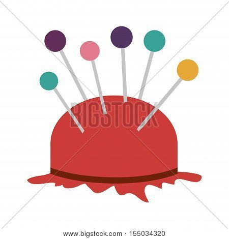 pincushion with colorful pins icon over white background. tailor shop design. vector illustration