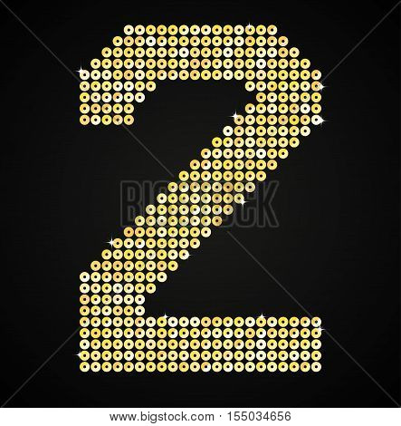 Letters, numbers and symbols in the form of gold sequins.