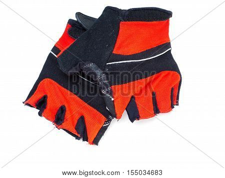Black and red Bicycle gloves isolated on white background