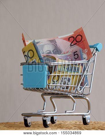 A trolley full of Australian dollar notes.