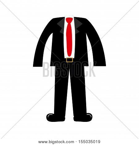 executive men clothes suit and red tie over white background. vector illustraiton