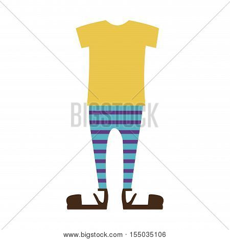 yellow tshirt and striped leggins. casual girl kid clothes over white background. vector illustration