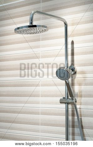 Squared shower head Bathroom brown tile, Rain shower