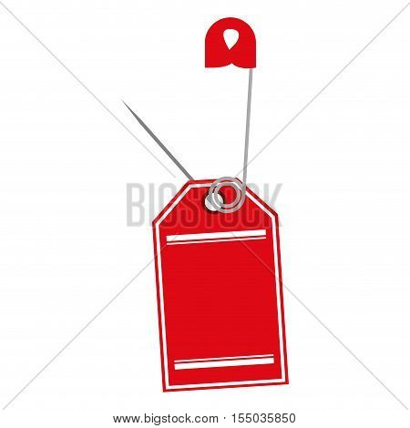 red safety pin with hanging tag icon over white background. vector illustration