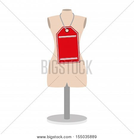 manikin icon over white background. tailor shop design. vector illustration