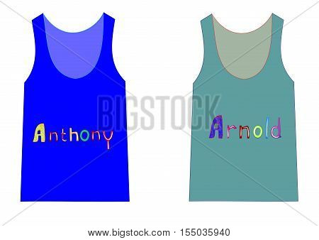 Trendy T-shirts with the names of Anthony and Arnold for boys editable and scalable vector illustration