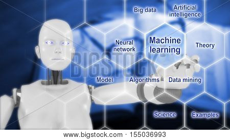 Female robot touching the words machine learning on a hexagon grid with a education background and smart machines keywords 3D illustration