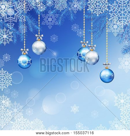 Christmas festive blue background with fir tree branches snowflakes ornaments