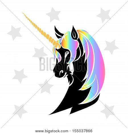 The silhouette of the head of a black unicorn with a rainbow mane. Mythical horse vector illustration