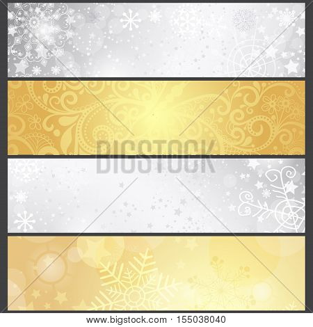 Set shiny silvery and golden gradient winter banners with snowflakes vector eps10