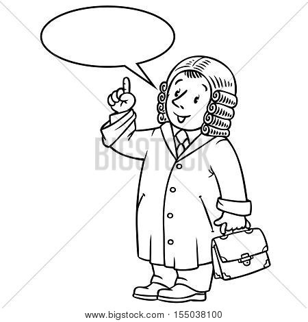Coloring picture or coloring book of funny judge. A man in barrister wig, dressed in mantle with briefcase understand thumbs up. Profession series. Childrens vector illustration. With balloon for text