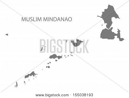Muslim Mindanao Philippines Map in grey vector illustration