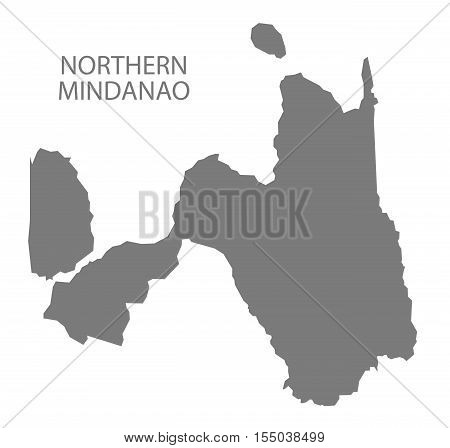 Northern Mindanao Philippines Map in grey vector illustration