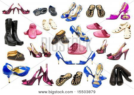 collection shoes on a white background