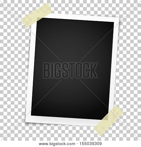 Realistic photo frame with straight edges on sticky tape. Template photo design.