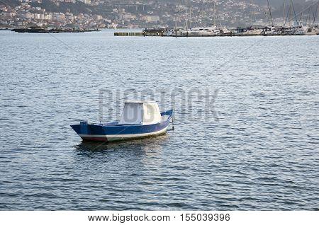 Fishing boat in Ria of Vigo, Pontevedra, Galicia, Spain