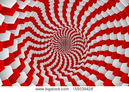 abstract background of red boxes with white twisted 3d illustration