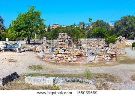 View of Ancient Agora of Athens with ruins near Acroplis, Greece