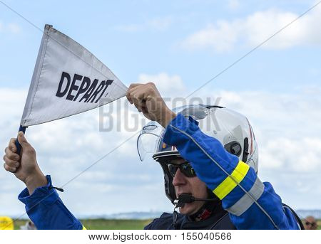 Ardevon France - July 2 2016: Unidentified French policemanholding the