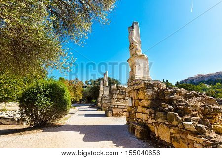 Odeon of Agrippa statues in the Ancient Agora of Athens, Greece