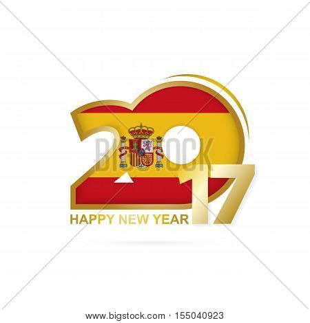 Year 2017 With Spain Flag Pattern. Happy New Year Design On White Background.