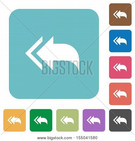 Reply to all white flat icons on color rounded square backgrounds