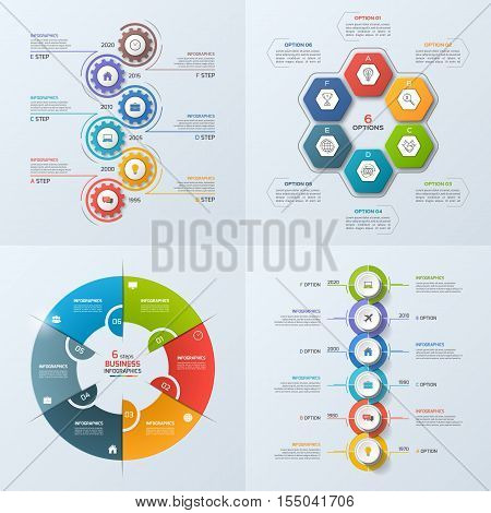Set Of 4 Business Infographic Template With 6 Steps, Processes, Parts, Options. Vector Illustration.