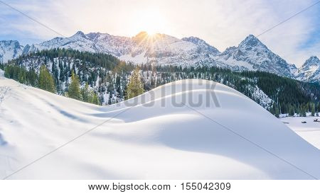 Sunny winter day in the Alps mountains - Enchanting winter landscape with the Austrian Alps and their fir forest covered in snow. Picture captured in Ehrwald Austria.