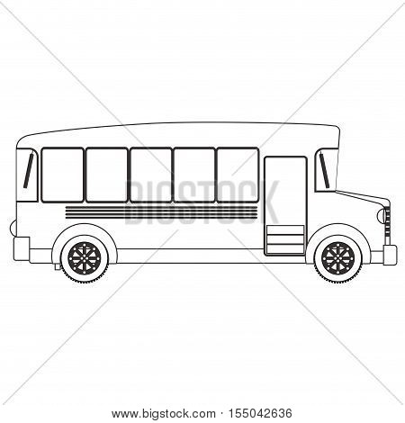 silhouette of school bus icon over white background. transportation vehicle design. vector illustration