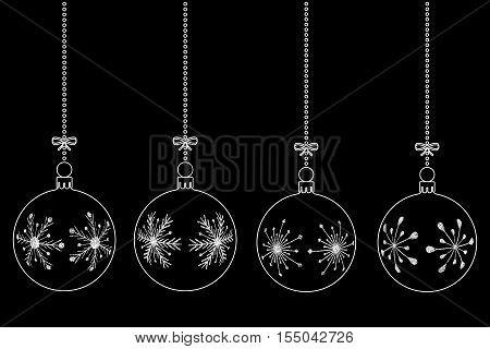 vector set of white christmas balls on black background isolated illustration
