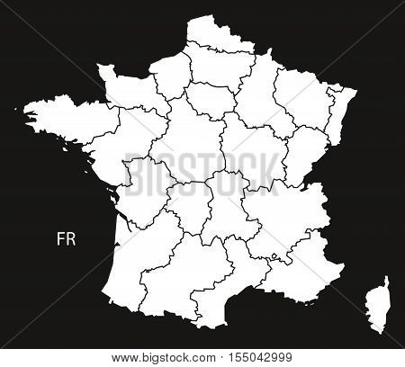 France Map with regions black white vector illustration high res