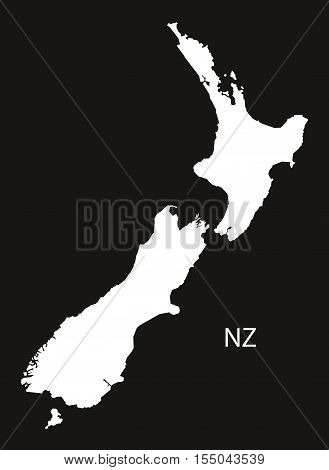 New Zealand Map black white vector illustration high res