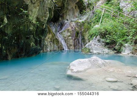 Nidri waterfalls on Lefkada island in Greece