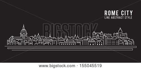 Cityscape Building Line art Vector Illustration design - Rome city
