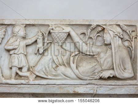 ROMA, ILTALY - JUNE 12, 2015: Ancient bas-relief in the baths of Diocletian in Rome. Italy