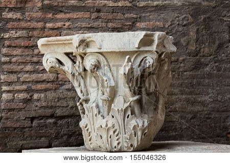 ROMA, ILTALY - JUNE 12, 2015: Ancient Roman column in the ruins of the Baths of Diocletian in Rome Italy