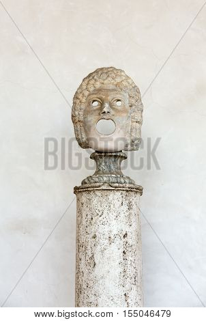 ROMA, ILTALY - JUNE 12, 2015: the marble-head scuplture in the baths of Diocletian (Thermae Diocletiani) in Rome. Italy