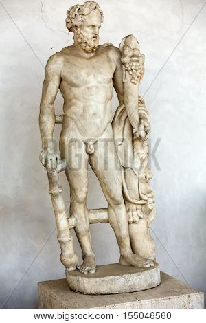 ROMA, ILTALY - JUNE 12, 2015: Ancient statue of man in baths of Diocletian (Thermae Diocletiani) in Rome. Italy