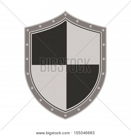 gray and black security shield icon over white background. vector illustraiton