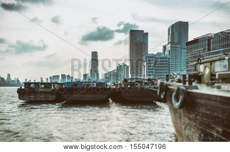 Ships in River With cityscape In Background oc ShanghaiChina.