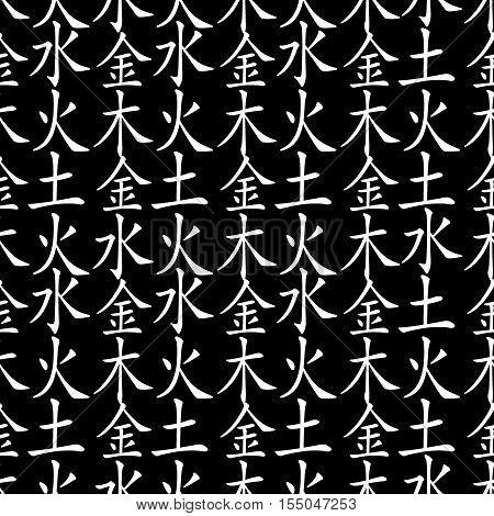 Five Feng Shui Elements seamless pattern - Chinese Wu Xing symbols. Translation of chinese hieroglyphs- wood, fire, earth, metal, water.