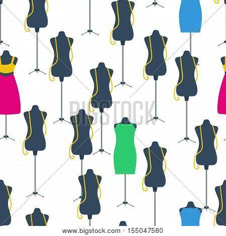 Vector seamless pattern scattered black dummy with tailor measuring tape on top and colorful dress. Background for tailors and sewing