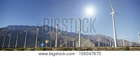 Windfarm and bright sun in the desert