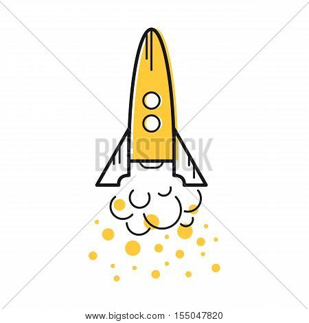 Vector line art rocket takes off with the orange clouds of smoke. Startup business concept. Isolated web icon