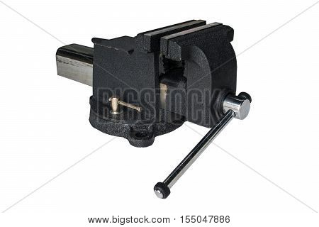 Black steel vise on white background, tool